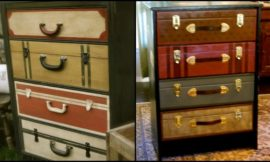 Give your old dresser a new look with this faux suitcase drawer idea!
