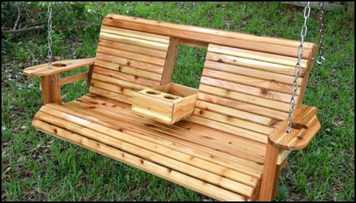 Build a wood porch swing with cup holders!