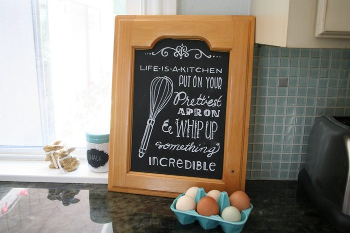 Cabinet Door Chalkboard Sign