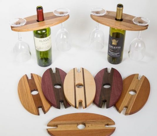 DIY wine bottle and glass holder