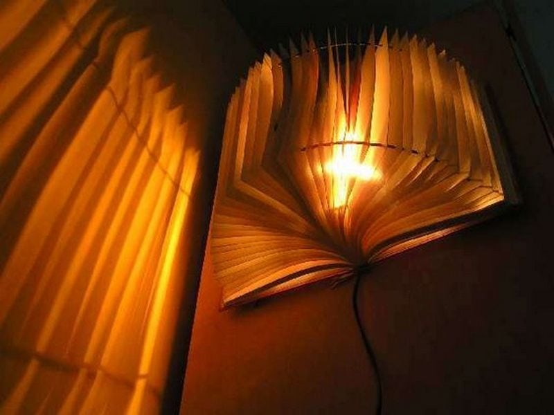 An old book turned lamp shade is a great way to recycle.