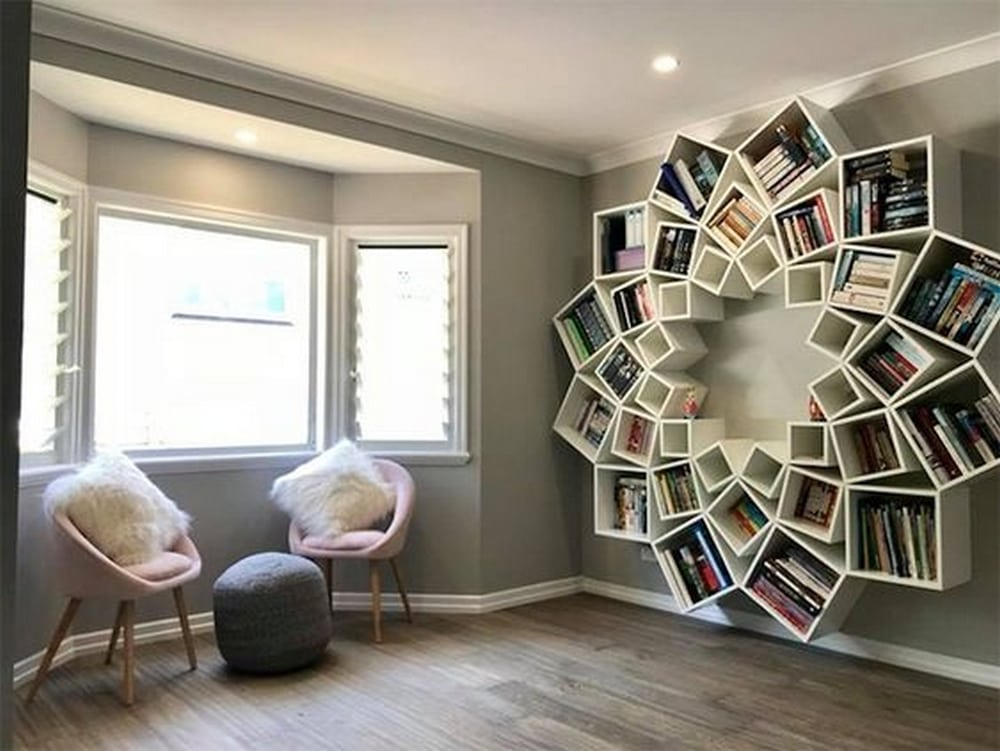 A Mandala Bookshelf would make a great focal point in any room.