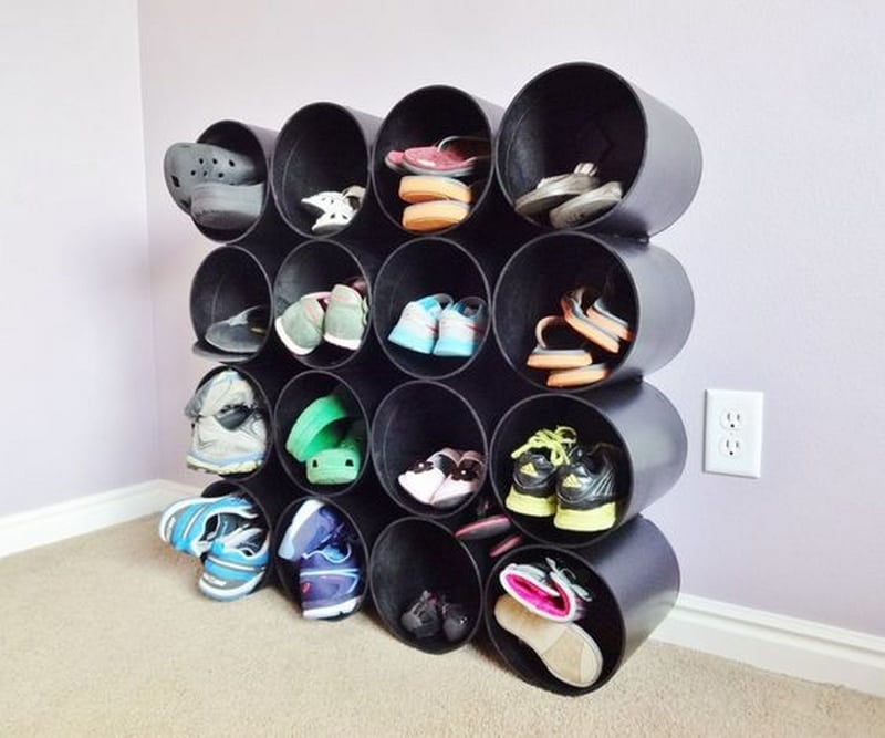 A wall mounted shoe rack is a fun, easy, and useful DIY project you ought to try.
