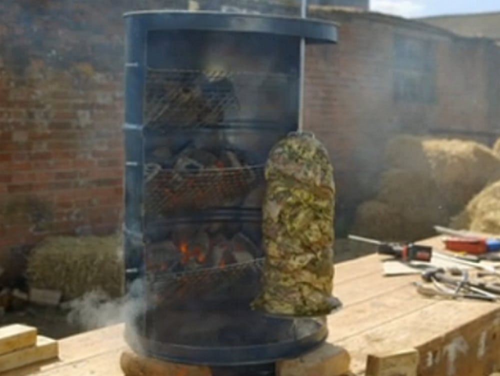 A vertical rotisserie for a fun outdoor party.