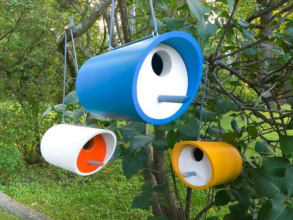 These PVC bird houses will make great additions to your backyard!