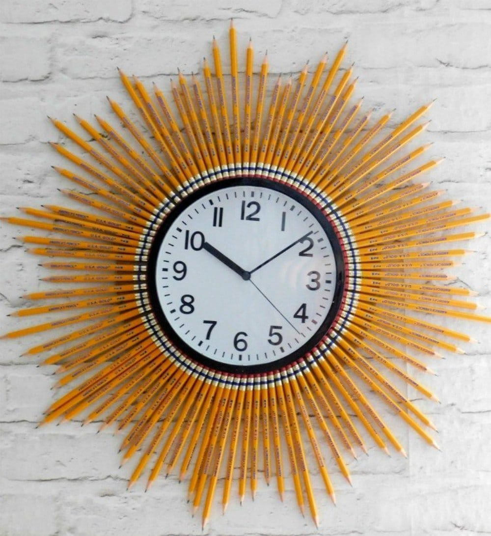 This sunburst pencil clock will look great against your wall!