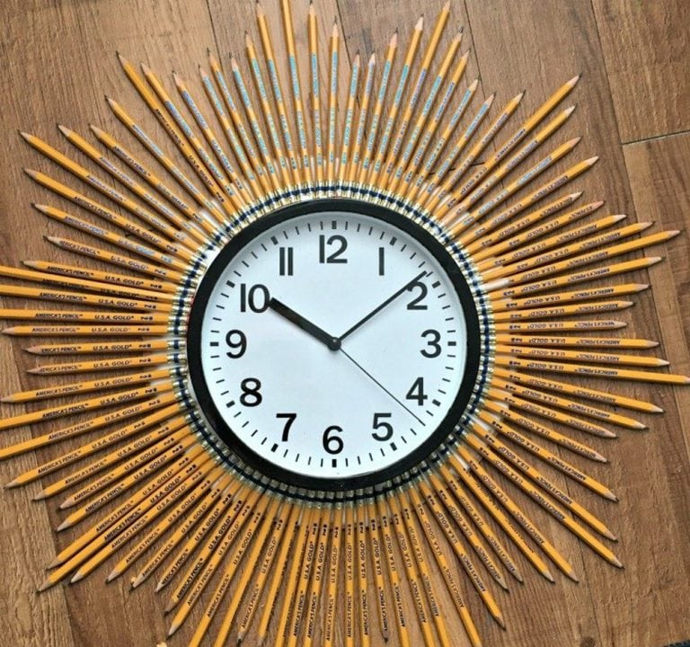 DIY Sunburst Pencil Clock