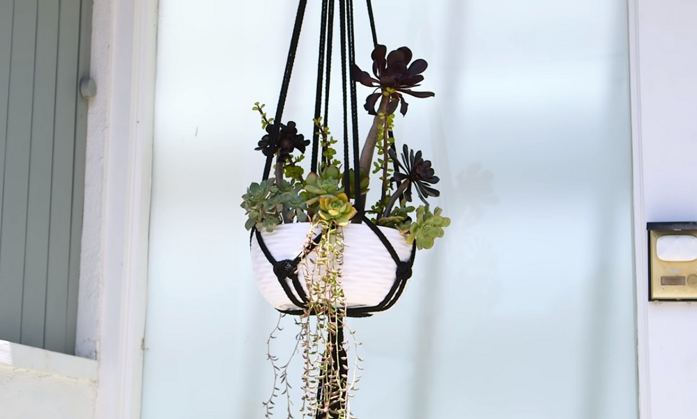 These macramé plant holders are nice for potted plants both indoors and outdoors.