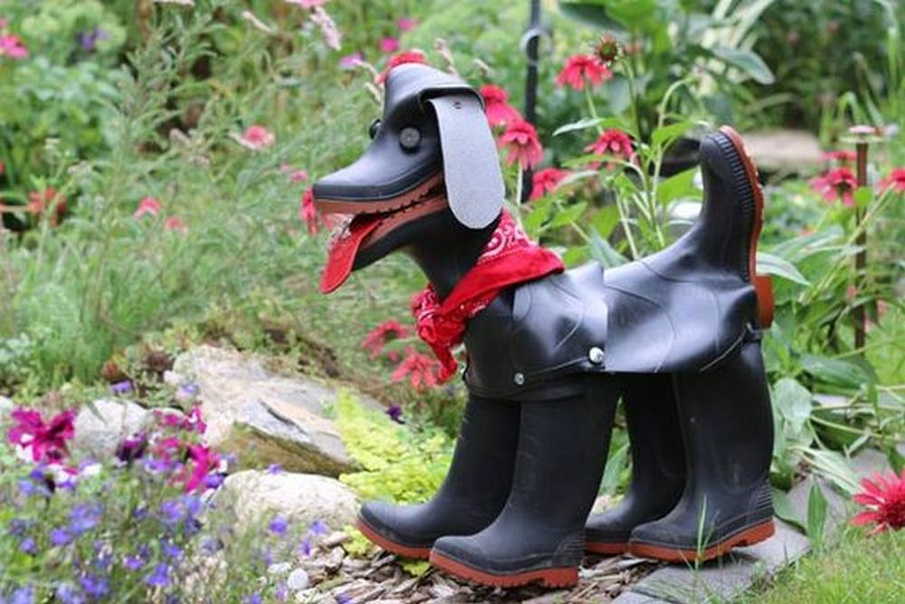 This dog made out of rubber boots is too adorable!