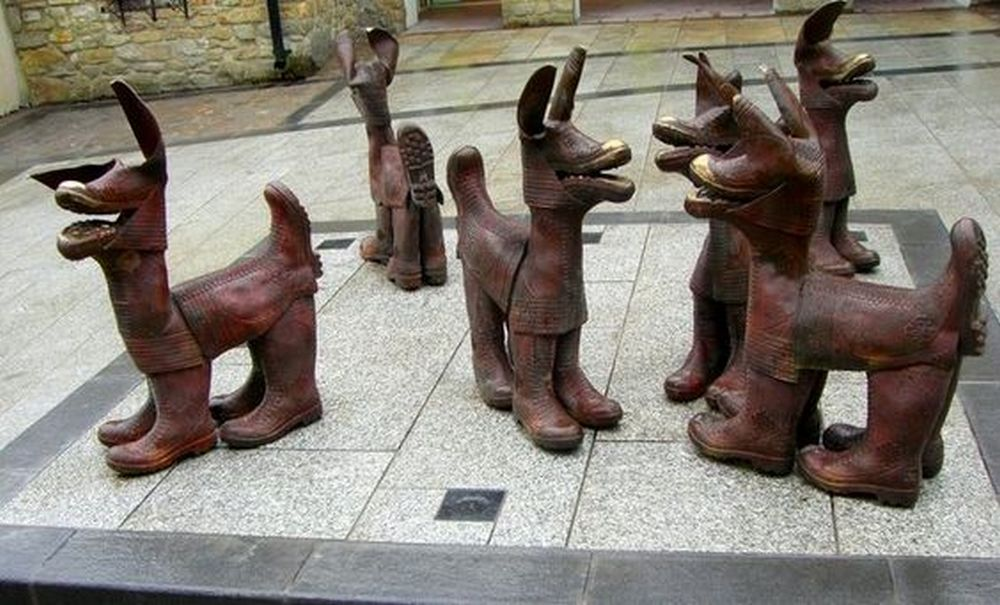 It's hitting two birds with one stone - you get rid of old boots and turn them into art!