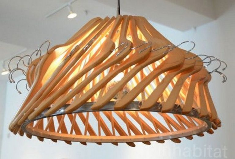 DIY Wooden Hangers Lamp