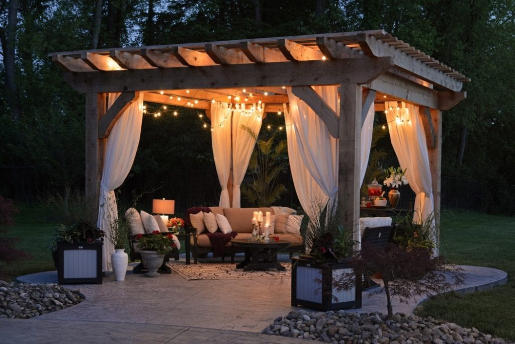 A garden pavilion like this can be built very inexpensively yet can really enhance your lifestyle.